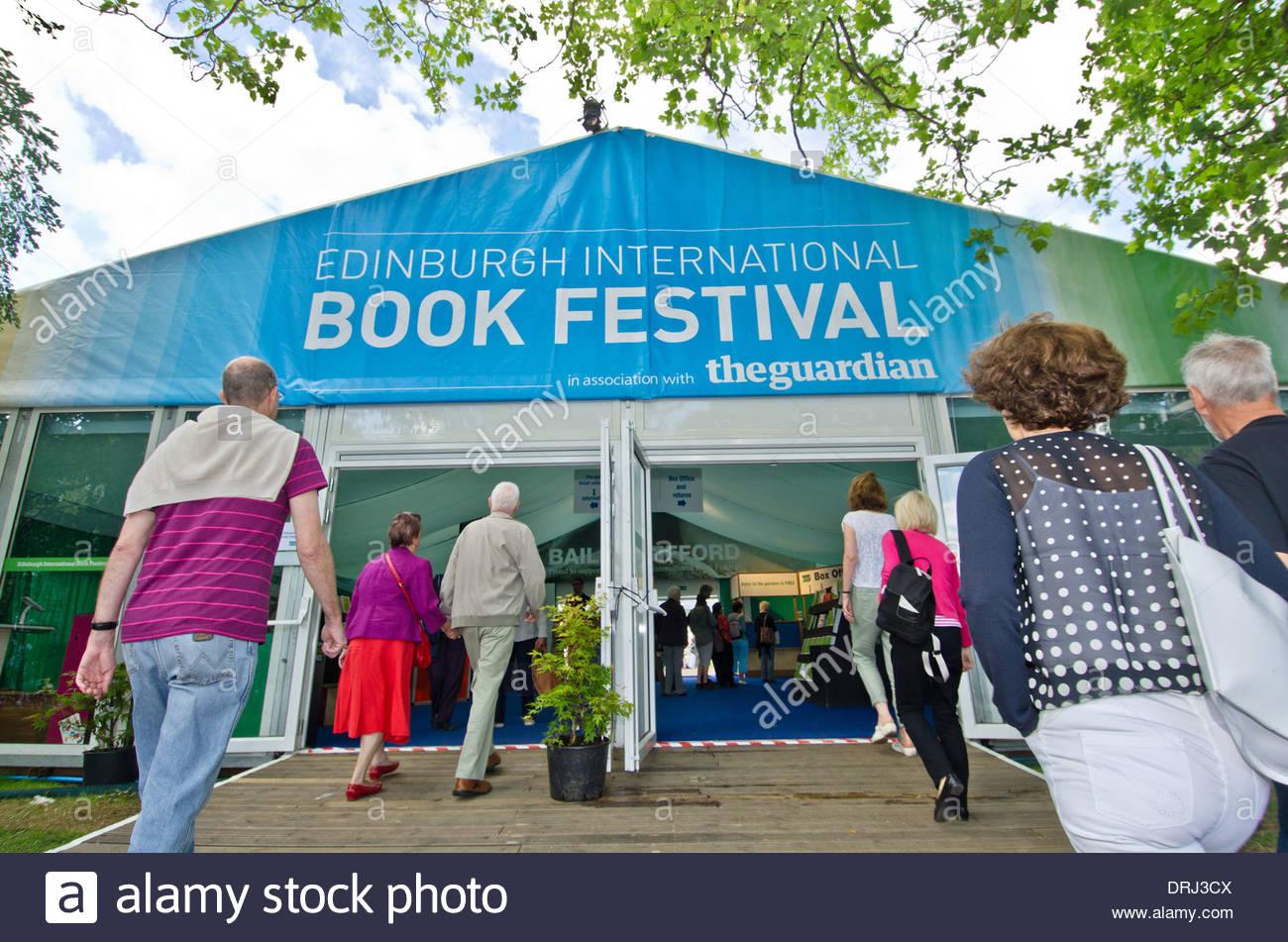 The entrance of the Edinburgh International Book Festival in Charlotte Square Gardens in Edinburgh. - Stock Image