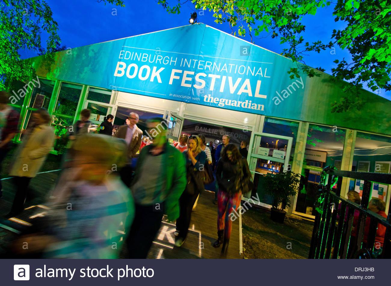 The entrance of the Edinburgh International Book Festival in Charlotte Square gardens in Edinburgh - Stock Image
