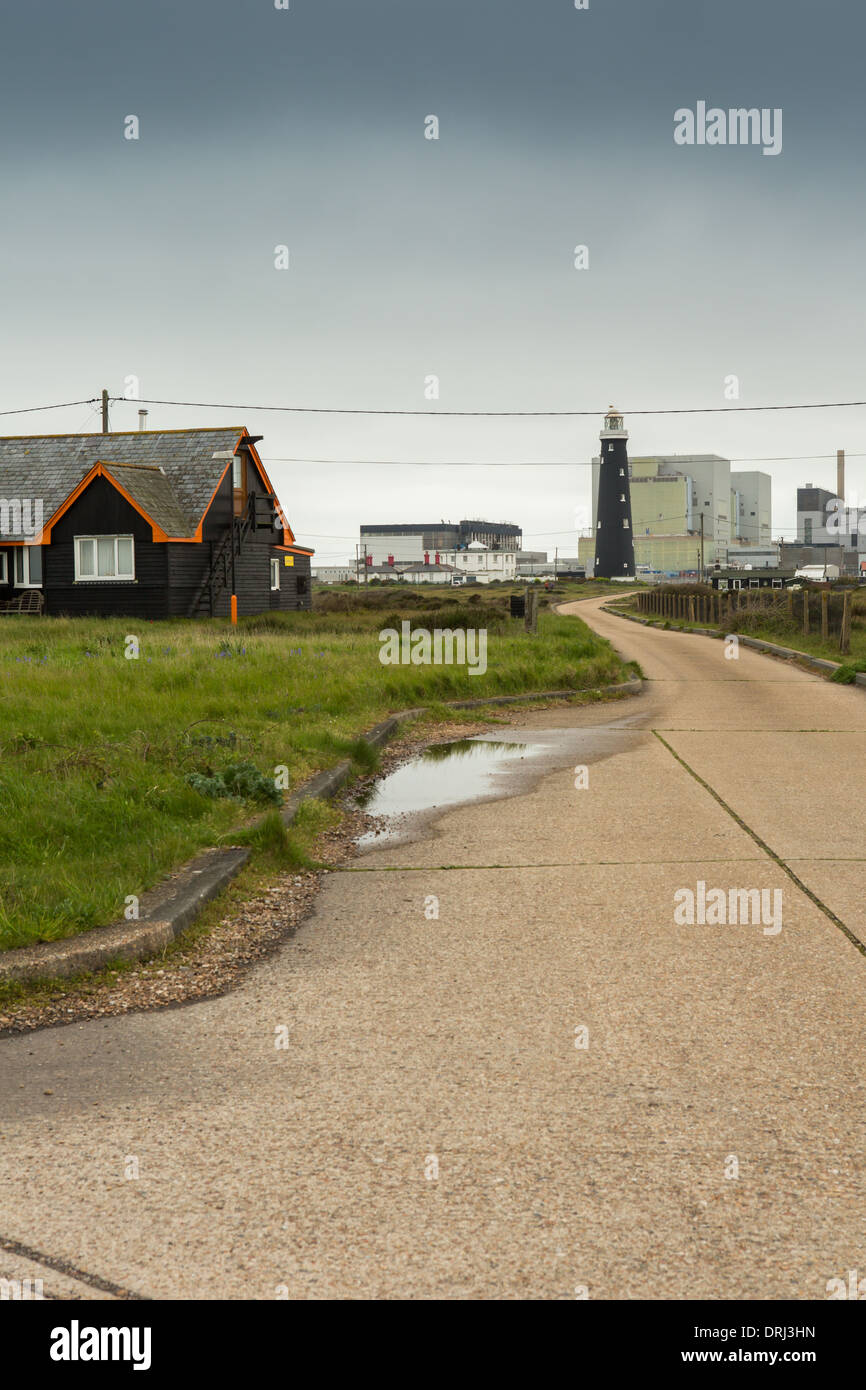 The old lighthouse and nuclear power station, Dungeness, Kent - Stock Image