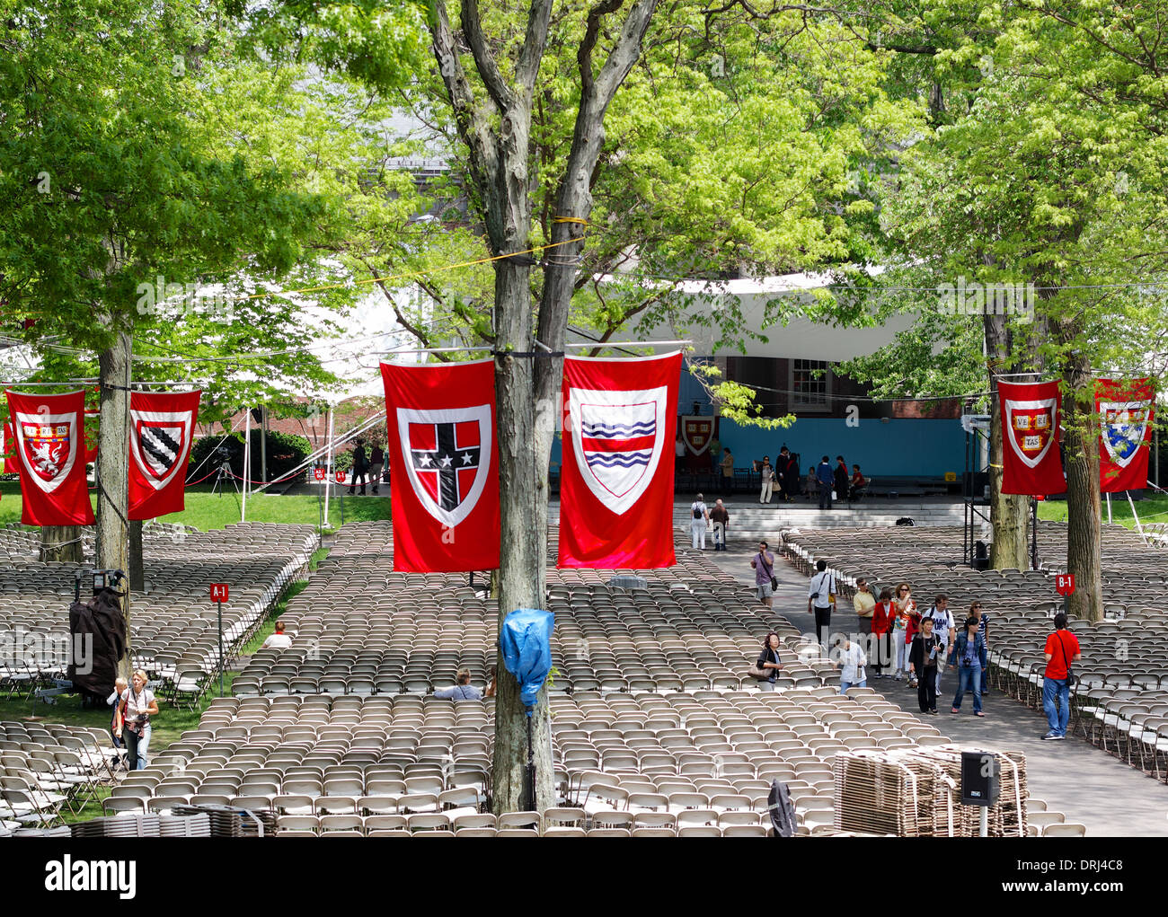 Harvard Yard, old heart of Harvard University campus, flagged and prepared for Commencement ceremonies in Cambridge, Stock Photo