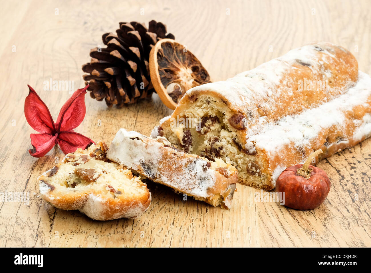 Traditional German Stollen served at Christmas - Stock Image