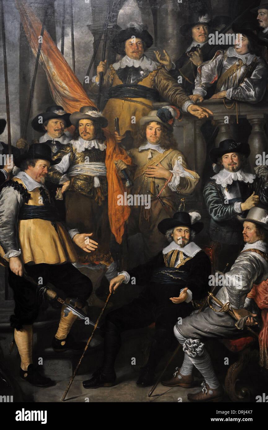 Govert Flinck (1615-1660). Dutch painter. Militia Company of District XVIII under the Command of Captain Albert Bas, 1645. - Stock Image