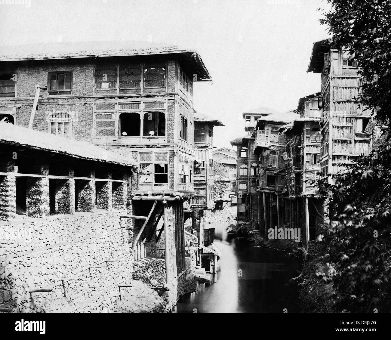 Merchants' houses, Marqual Canal, Srinagar, India - Stock Image
