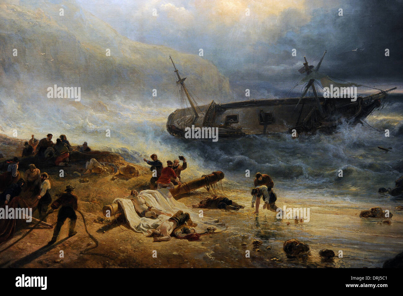 Wijnand Nuijen (1813-1839). Dutch painter. Shipwreck off a Rocky Coast, c.1837. Detail. Rijksmuseum. Amsterdam. Holland. - Stock Image