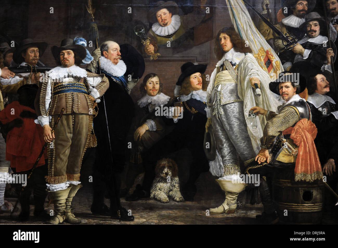 Van der Helst (1613-1670). Dutch painter. Militia Company of District VIII under the Command of Captain Roelof Bicker, 1643. - Stock Image