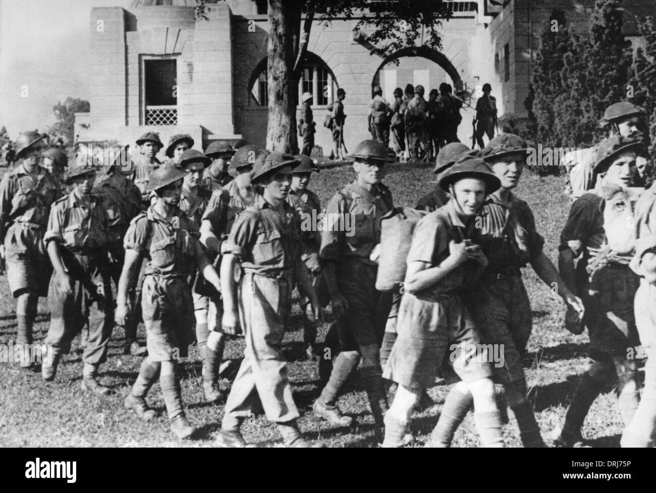 British soldiers after surrender of Singapore, 1942 - Stock Image