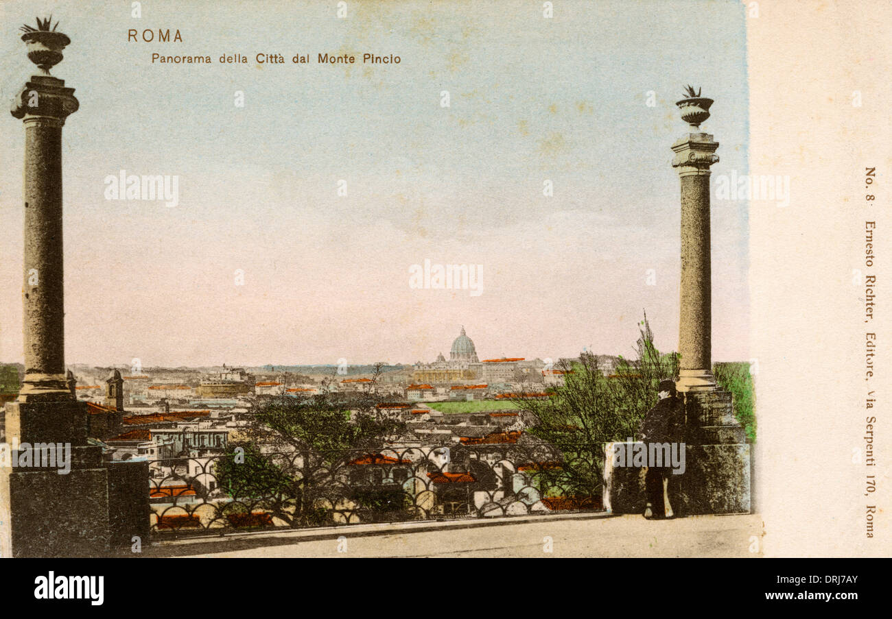 Panoramic view of Rome from The Pincian Hill - Stock Image