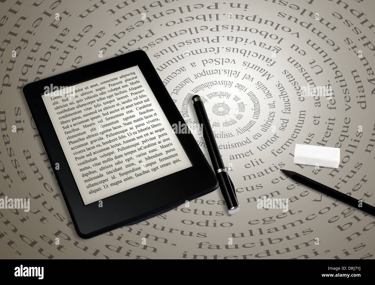 modern ebook reader on book on abstract font background - Stock Image
