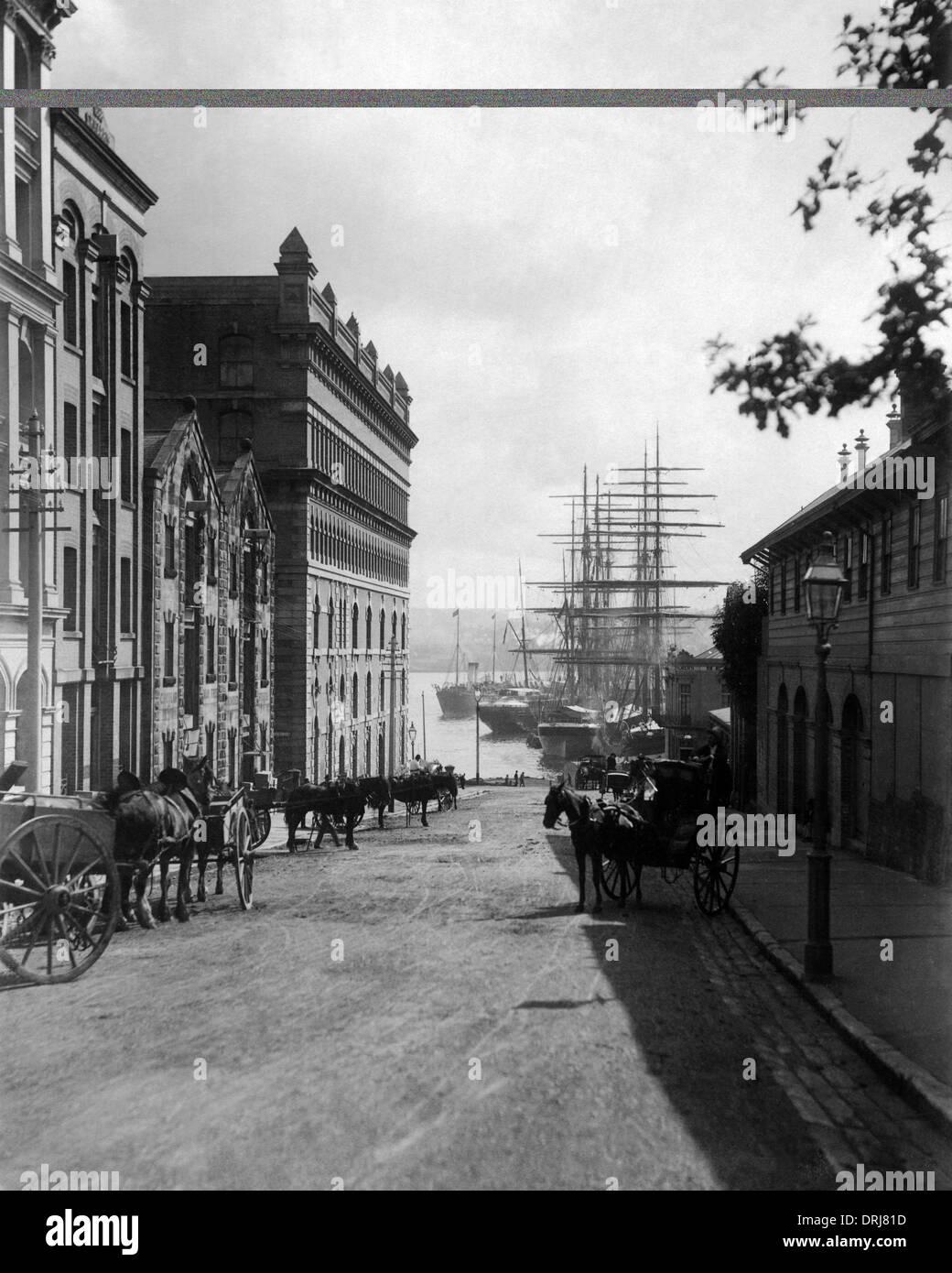 Phillip Street and Harbour, Sydney, Australia - Stock Image