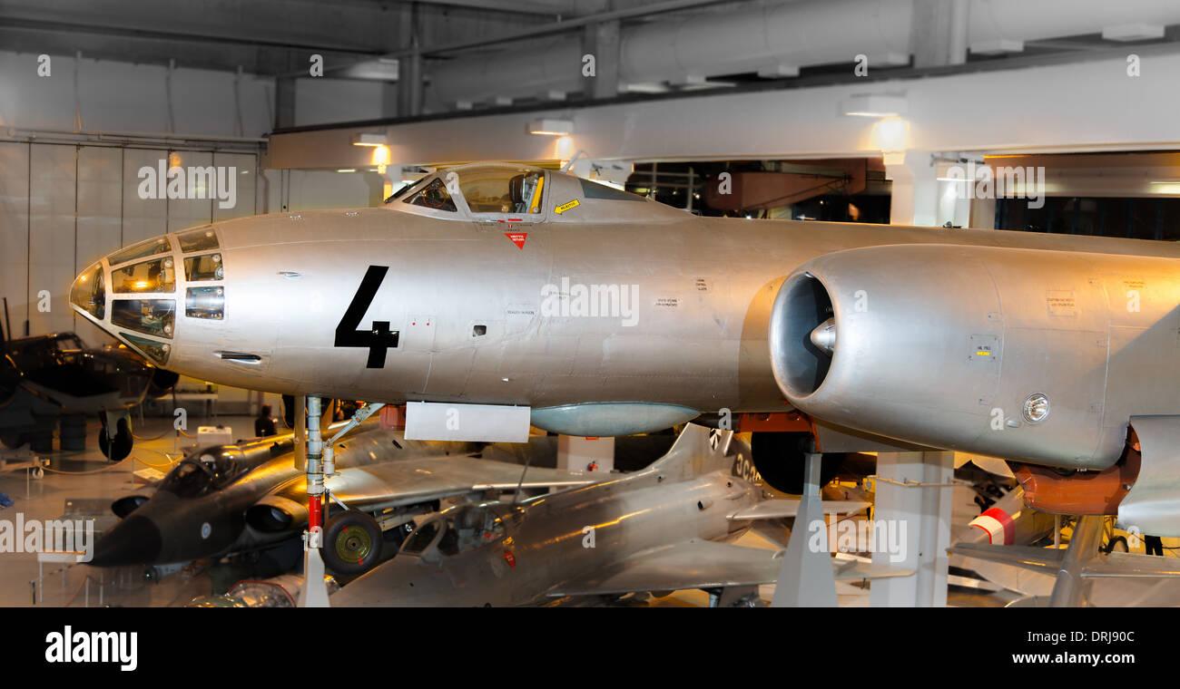 Finnish Air Force veteran Ilyushin Il-28 bomber on display at Central Finland Aviation Museum in Tikkakoski. Stock Photo
