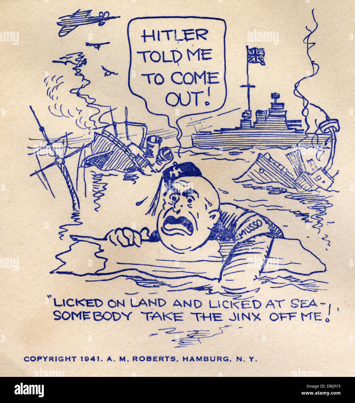 WWII - Mussolini sunk at sea - First Day Cover - Stock Image