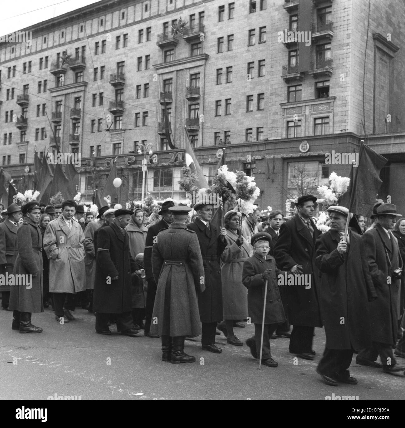 May Day procession, Gorki Street, Moscow, Russia - Stock Image