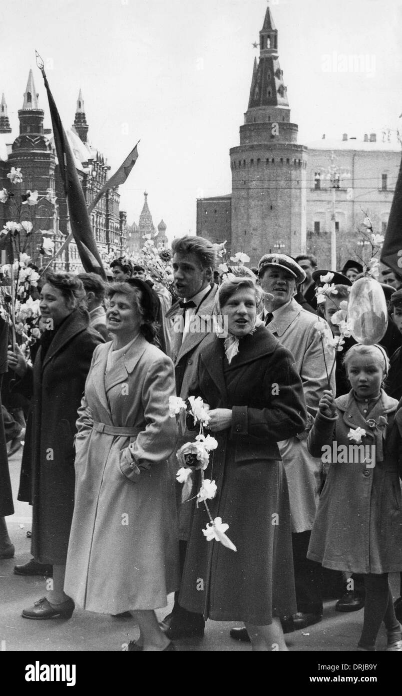 Crowd of people on May Day, Moscow, Russia - Stock Image
