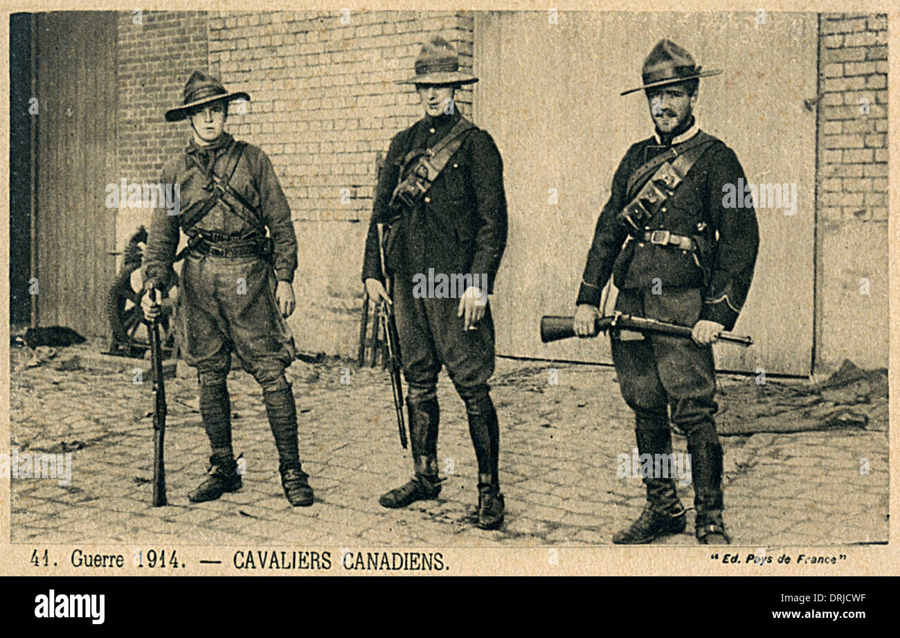Three Canadian Cavalry Soldiers - WWI - Stock Image
