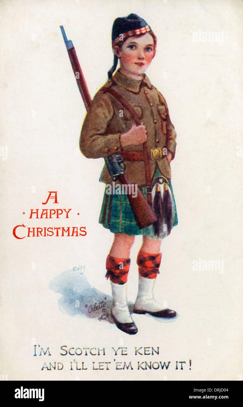 Patriotic Postcard - WWI - Young Highlander - Stock Image