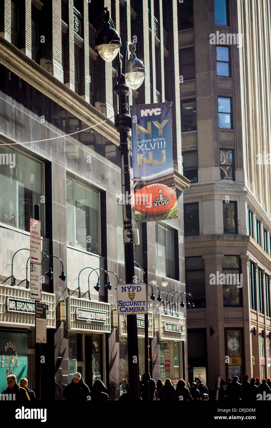 Super Bowl Boulevard is readied, with a surveillance camera