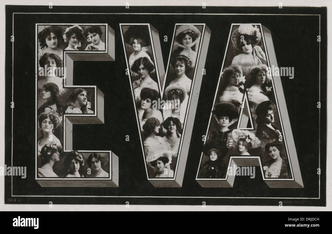 Ladies Name postcard - EVA - Stock Image