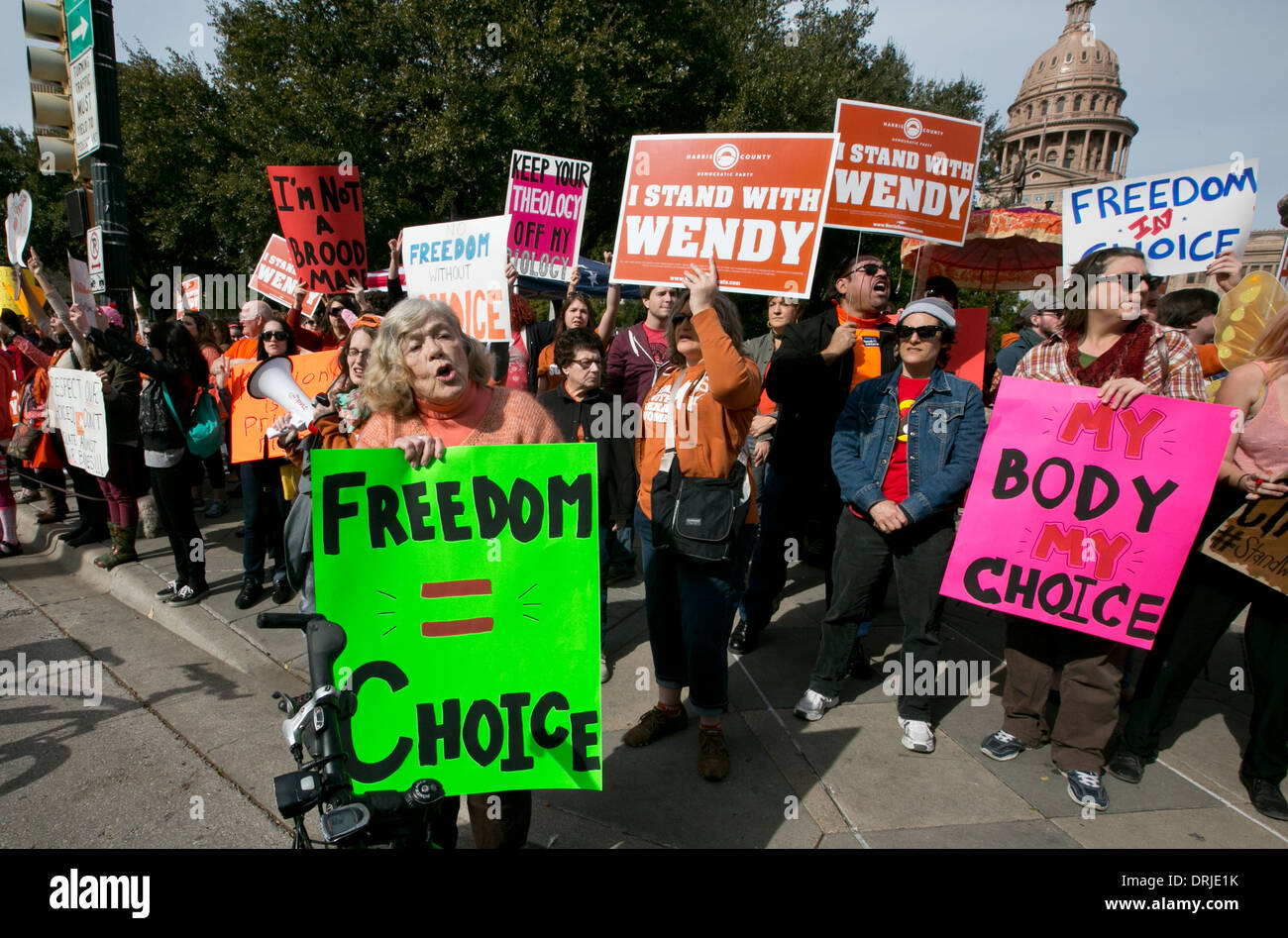 Both pro-choice and pro-life groups rally during the Texas Rally for Life at Texas Capitol. - Stock Image