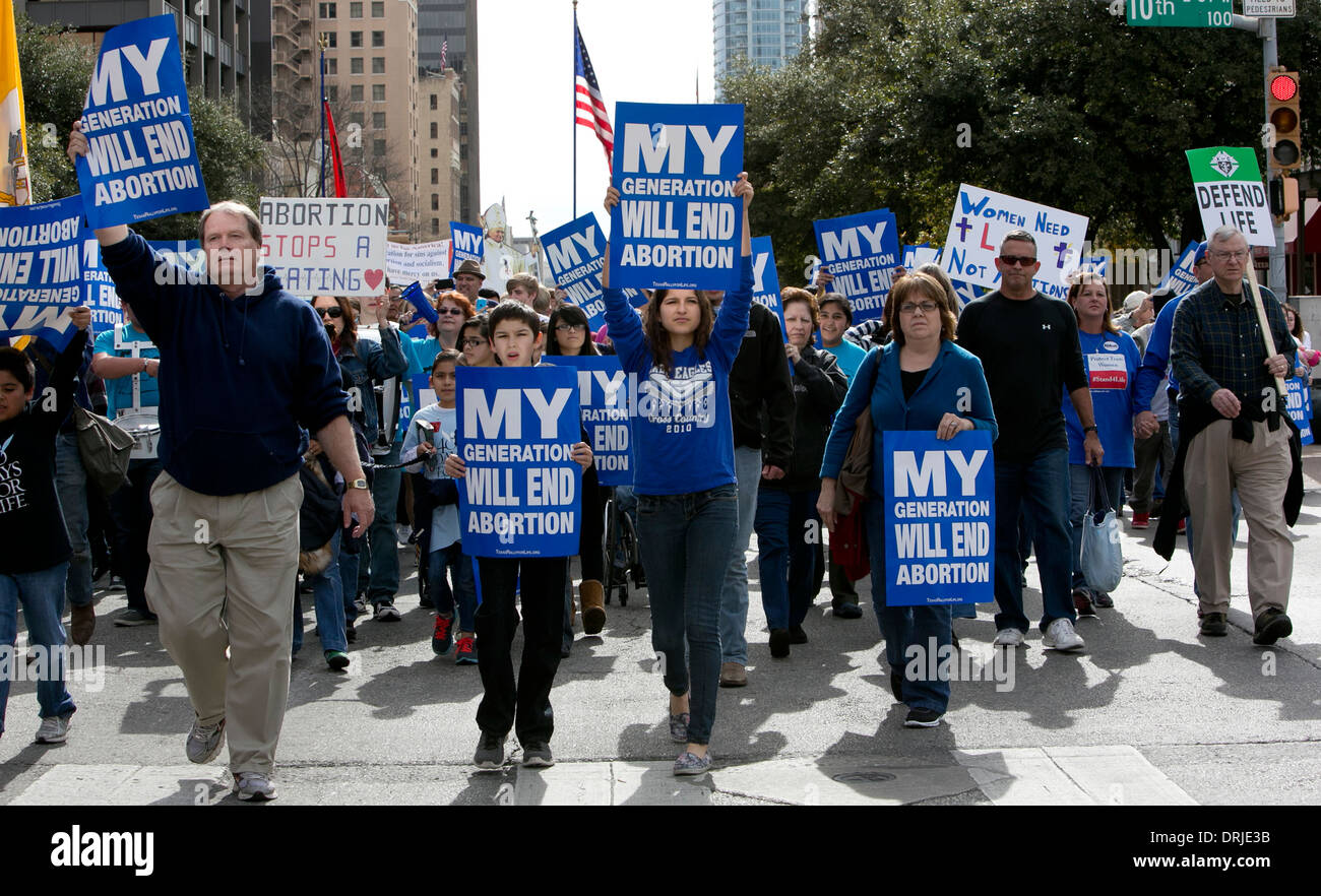 hundred of anti-abortion, pro-life group attend Rally for Life at the Texas Capitol in Austin. - Stock Image