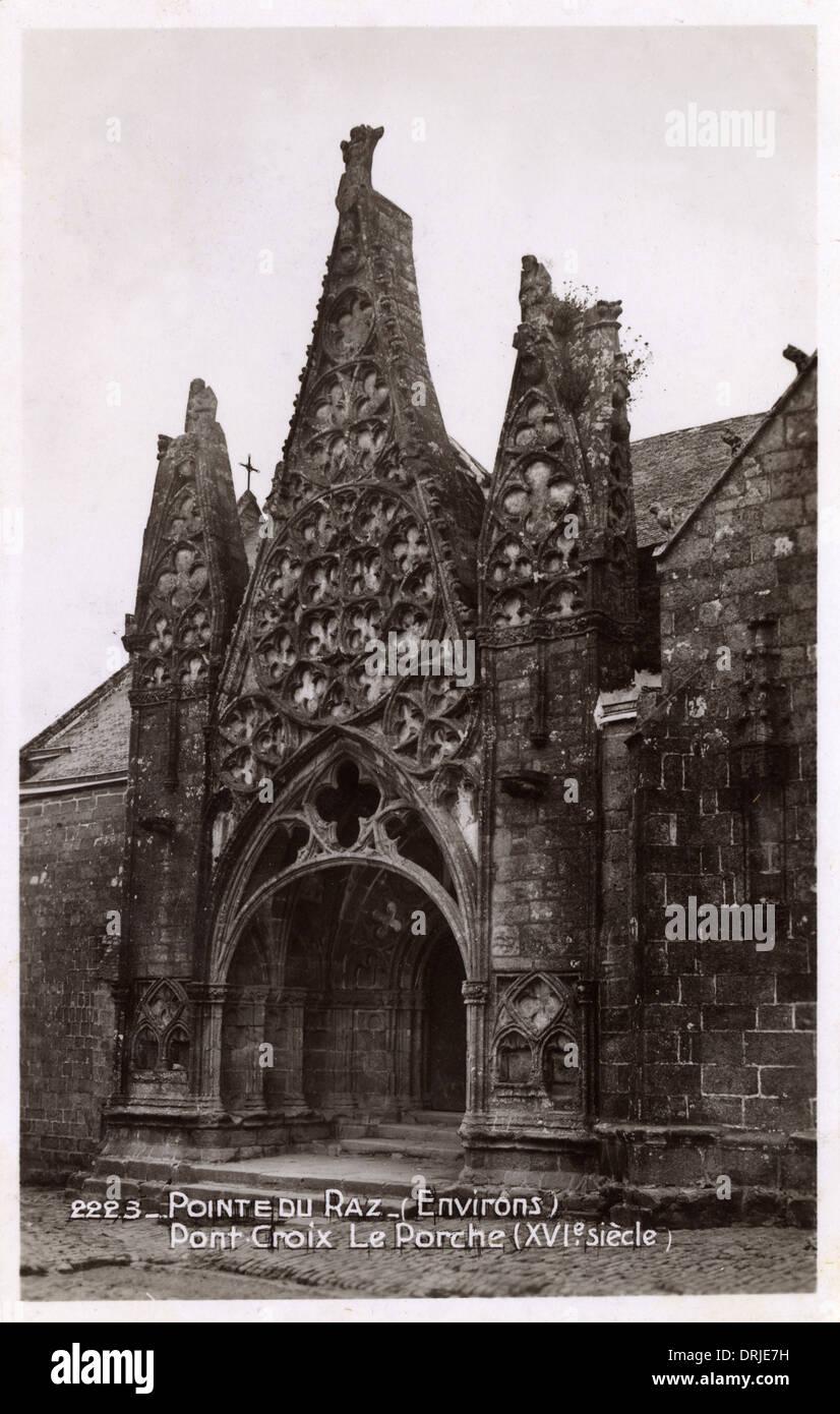 Notre-Dame de Roscudon, France - Gothic Portico - Stock Image
