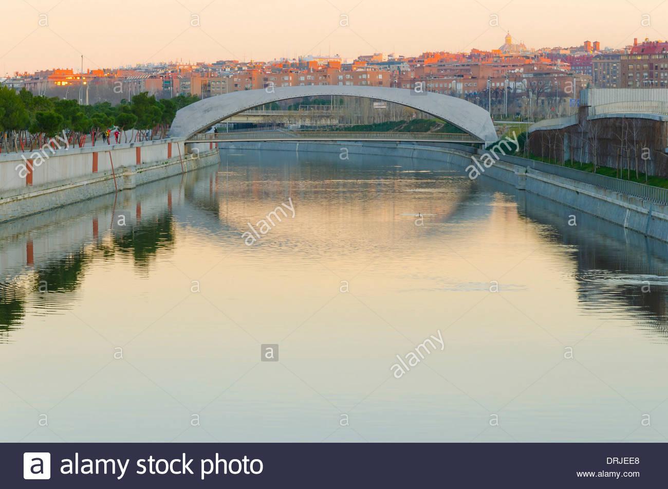 Modern bridge over rio manzanares in the morning Stock Photo
