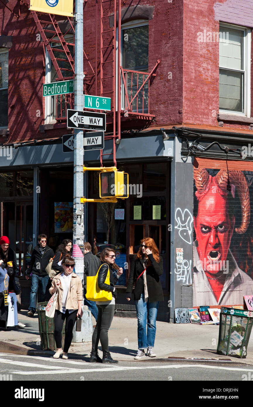 Williamsburg Brooklyn Hipsters Bedford Avenue Stock Photo