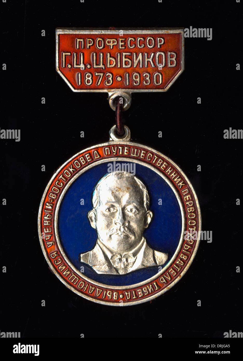Commemorative badge, Gombojab Tsybikov - Stock Image