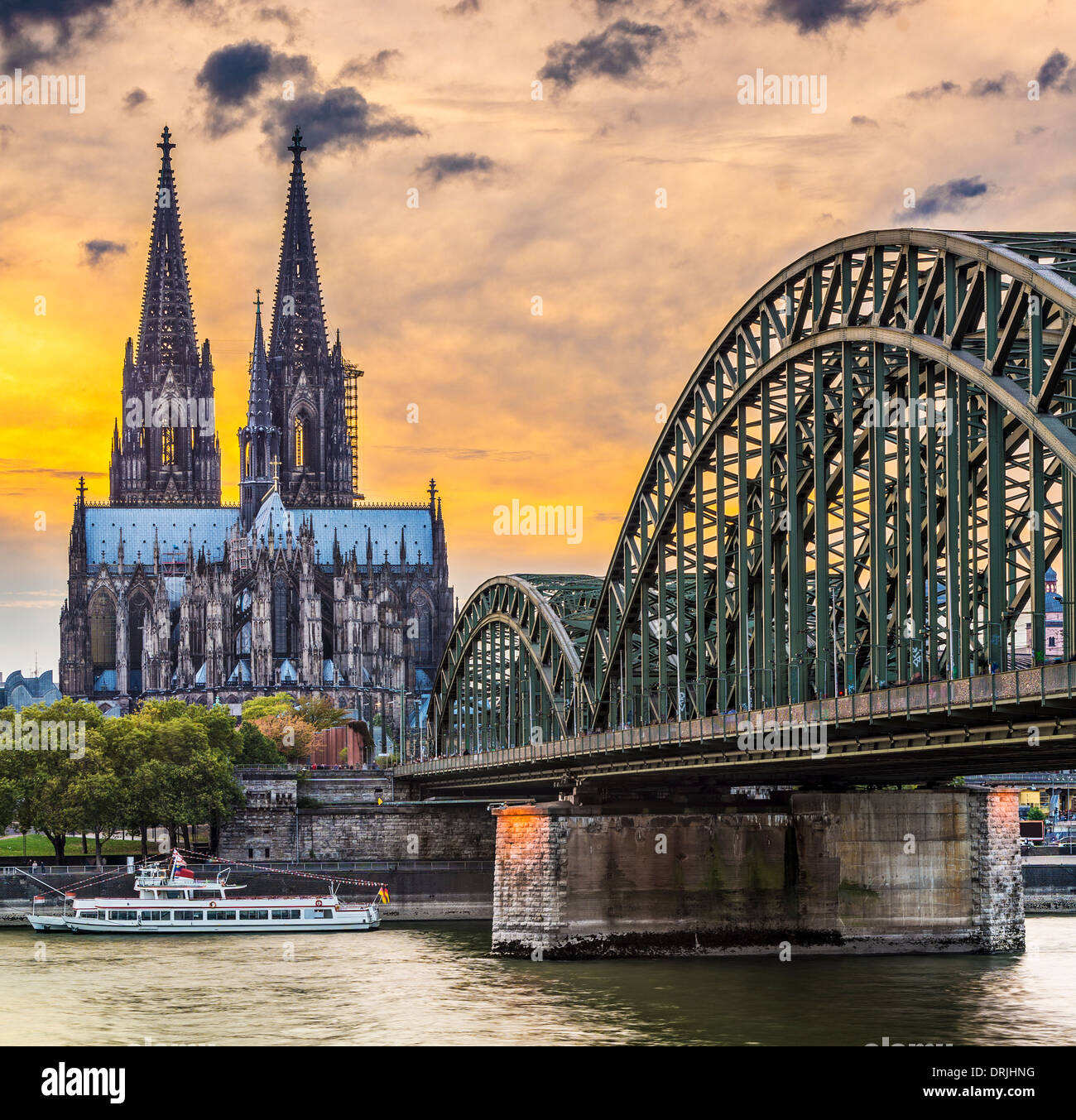 Cologne, Germany at the cathedral and bridge over the Rhine River. - Stock Image