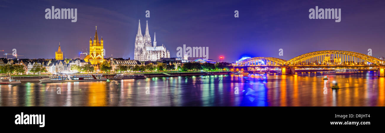 Cologne, Germany panorama over the Rhine River. - Stock Image