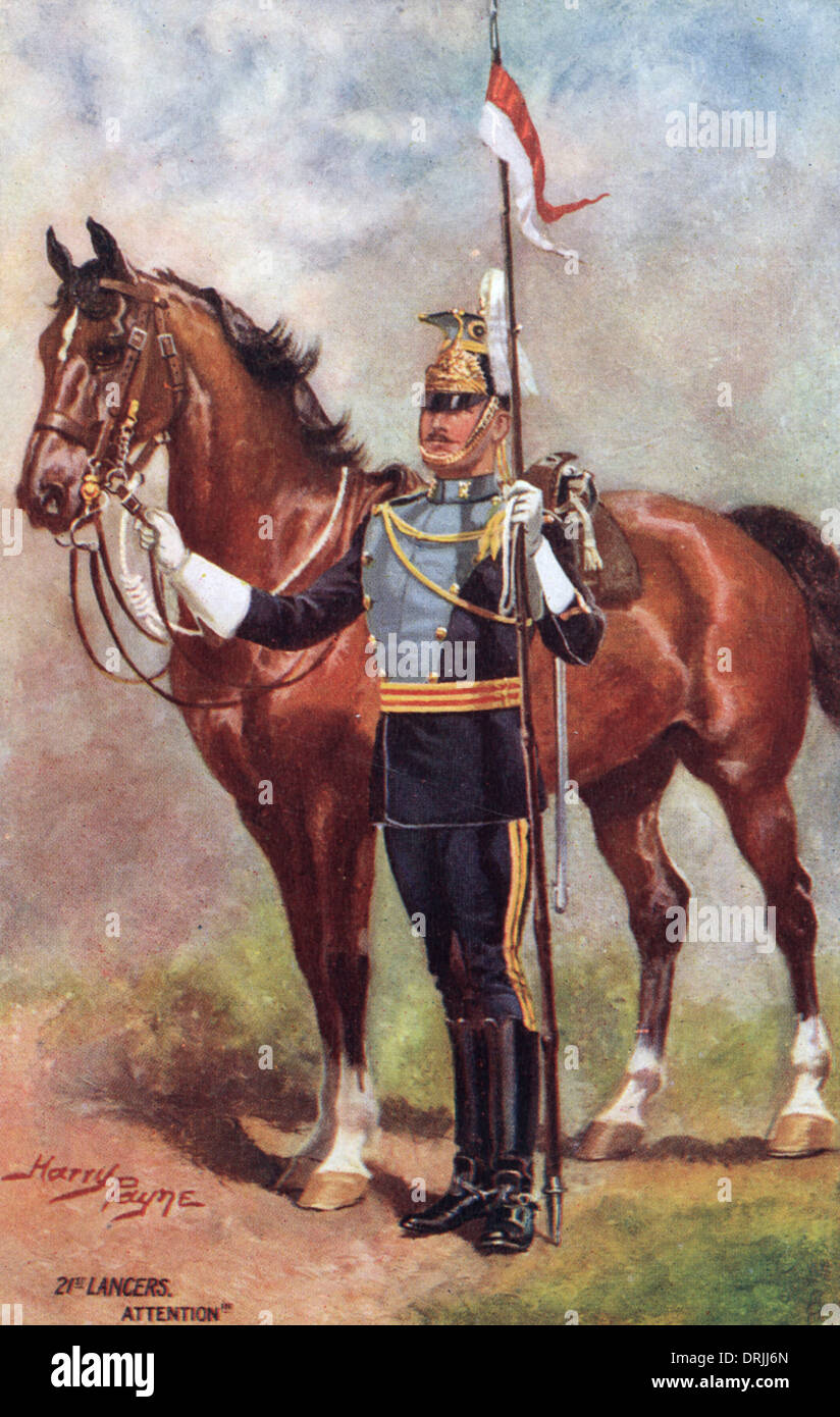 21st Lancers - Standing to attention - Stock Image