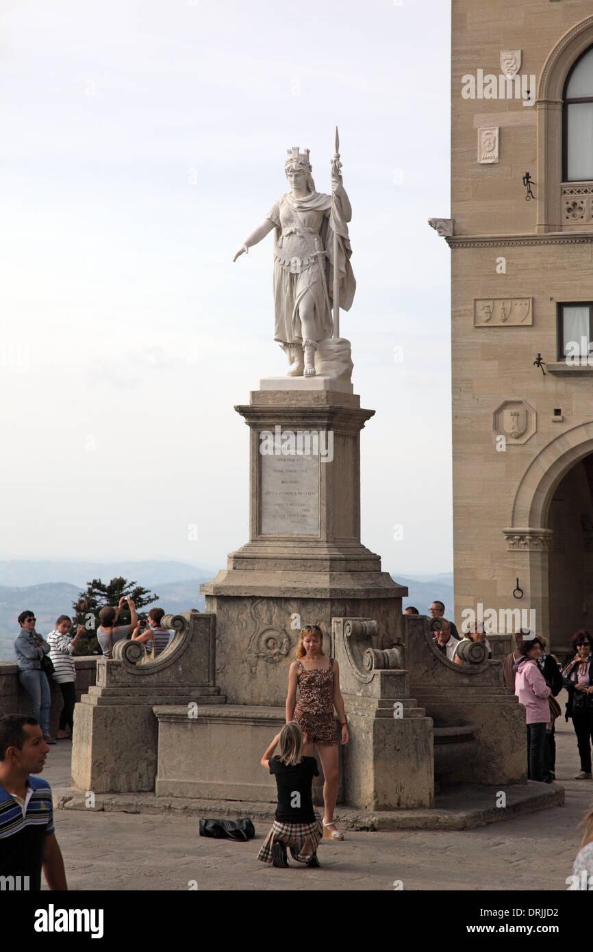 SAN MARINO, SAN MARINO, EUROPE – OCTOBER 10 2012 : Liberty Palace (Palazzo della Liberta) in Liberty Square - Stock Image