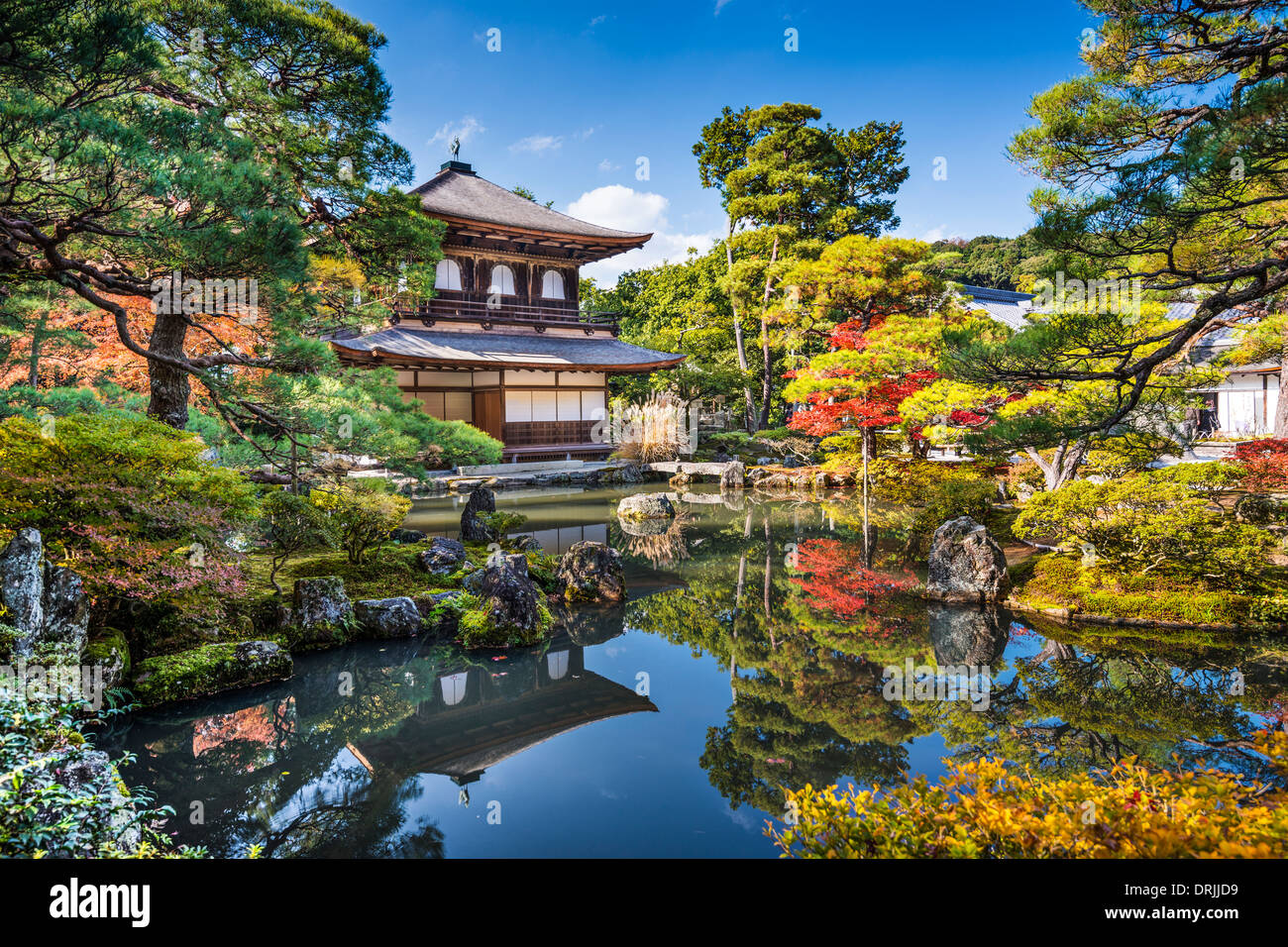 Ginkaku-ji Silver Pavilion during the autumn season in Kyoto, Japan. - Stock Image