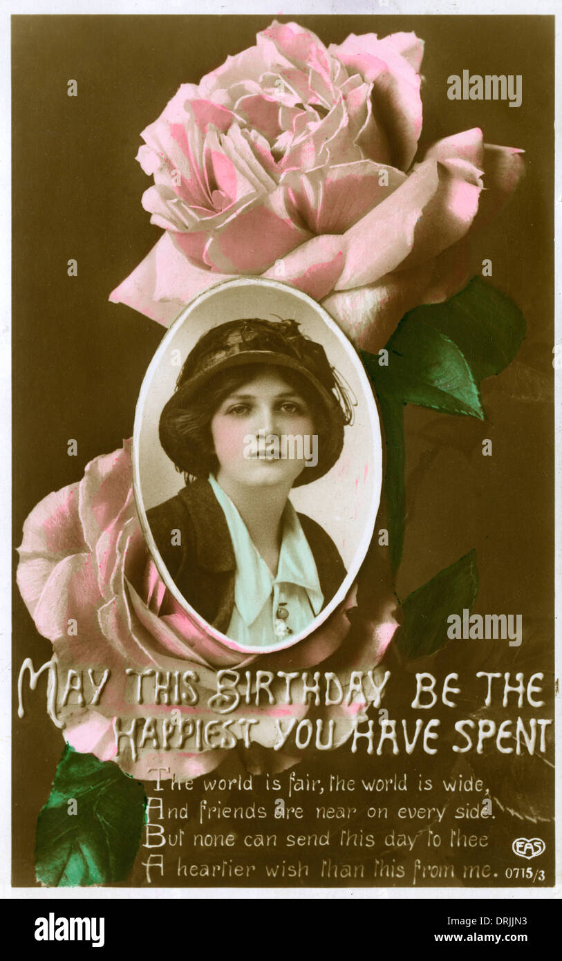 Birthday greetings postcard - Stock Image