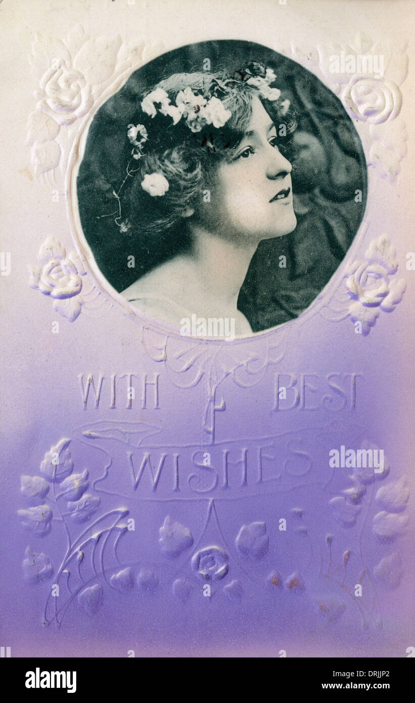 Best Wishes greetings postcard - Stock Image