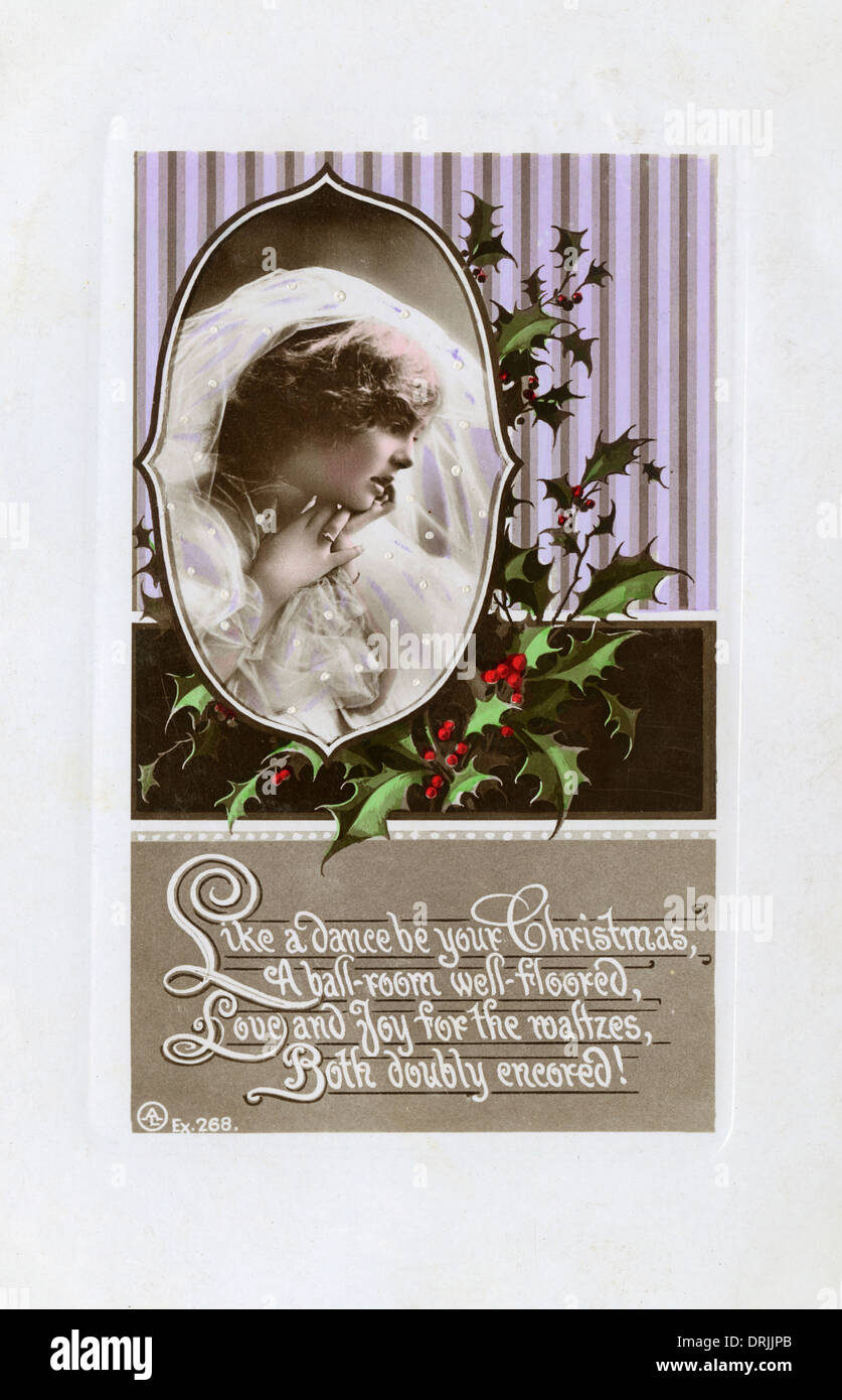 Christmas greetings postcard with dance-related poem - Stock Image