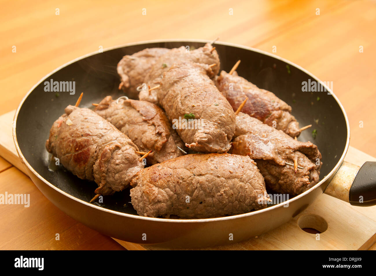 roulades in a pan - Stock Image