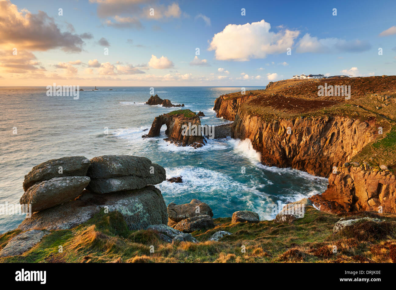 Evening light across the Land's End Peninsula at Land's End, Cornwall - Stock Image