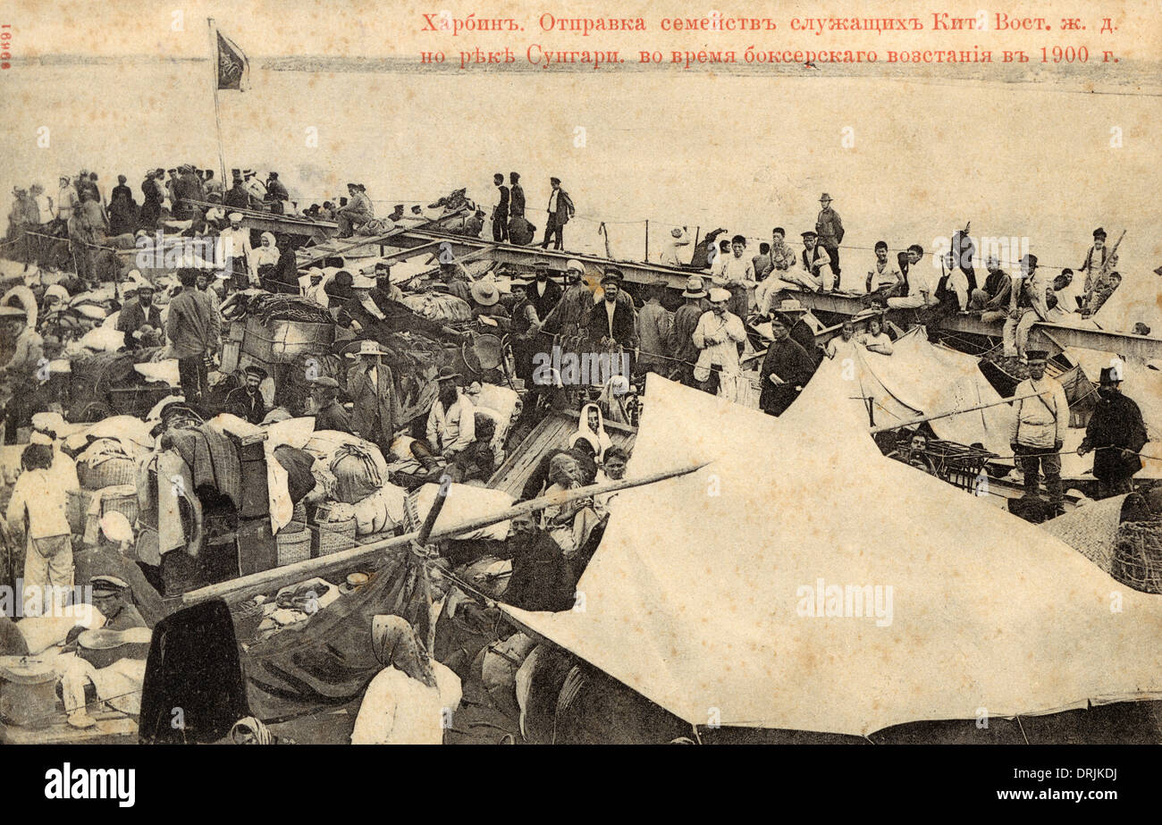 Escape from Harbin - July 1900 - Boxer Rebellion - Stock Image
