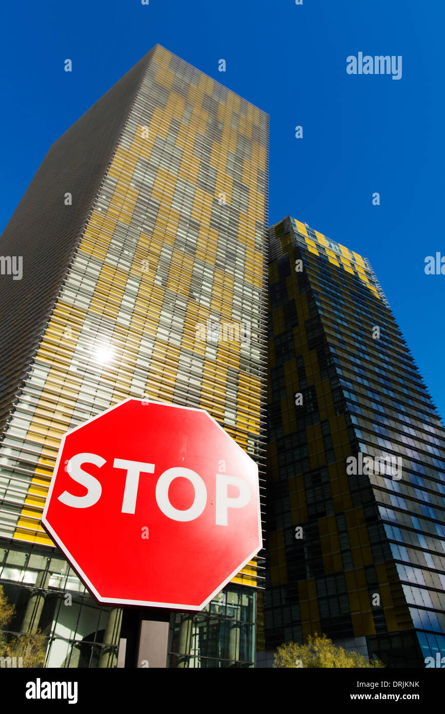 Stop sign in front of Crystals Aria Las Vegas. - Stock Image