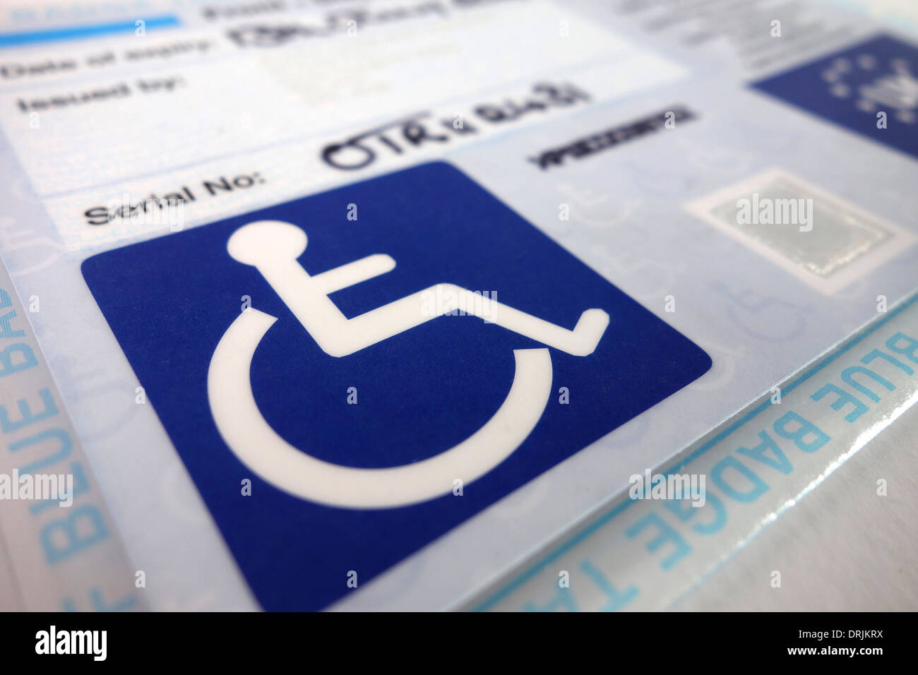 A disability blue badge - Stock Image