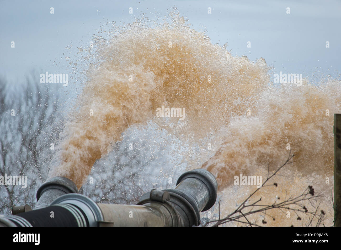 Pumping water from the flooded Somerset Levels at Burrowbridge into the River Parrett follwoing ongoing heavy rain. - Stock Image