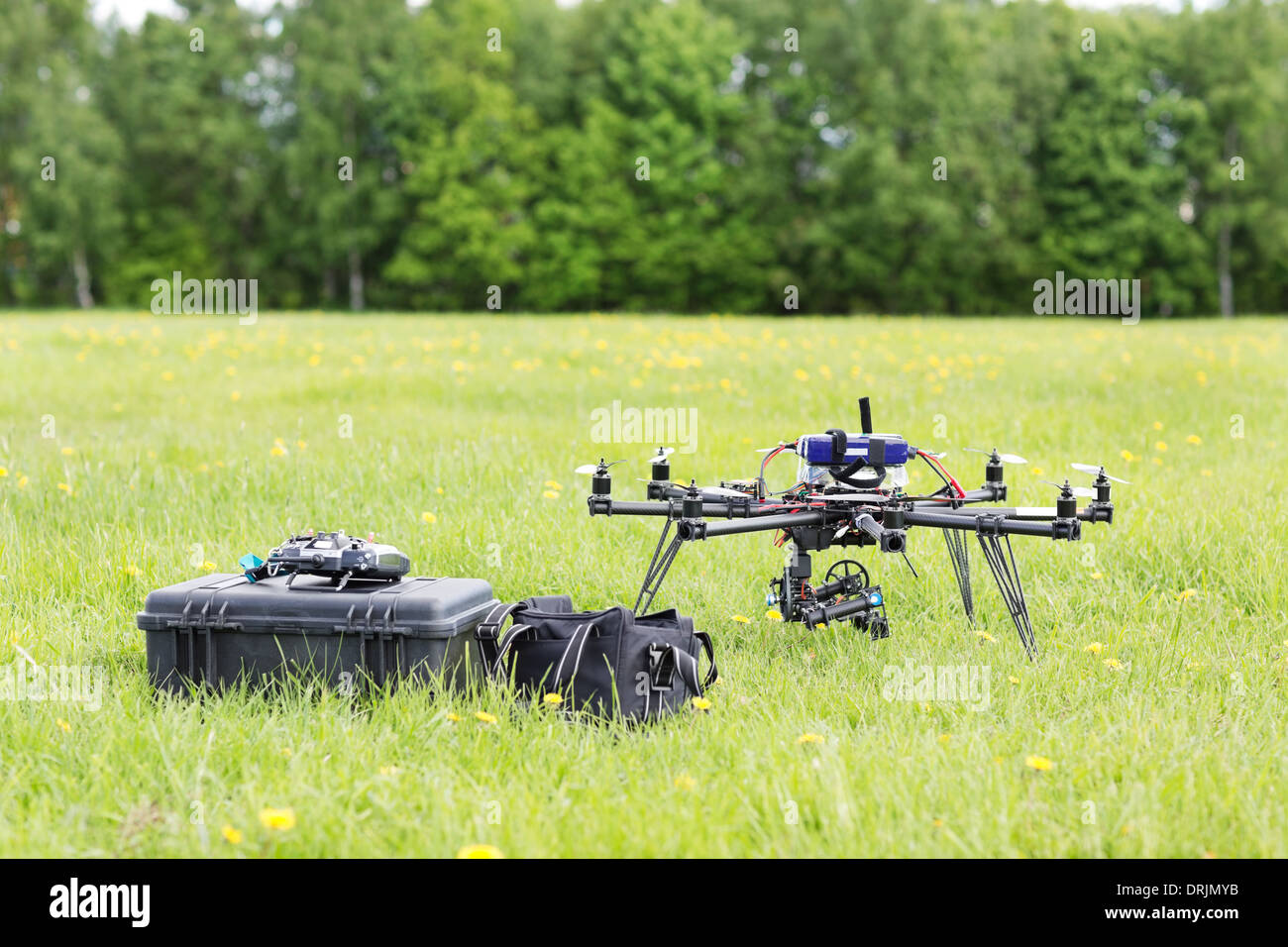 UAV Helicopter With Toolbox And Bag - Stock Image