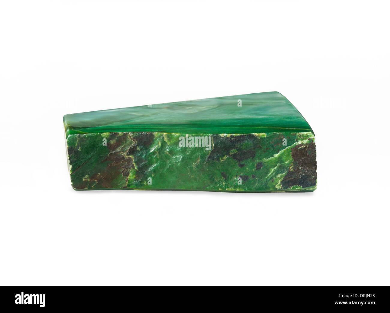 Nephrite Jade slab on white background - Stock Image