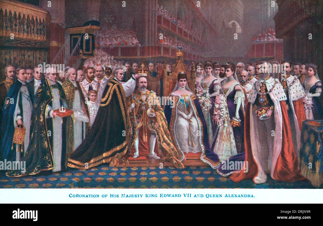 The coronation of King Edward VII and Queen Alexandra. - Stock Image