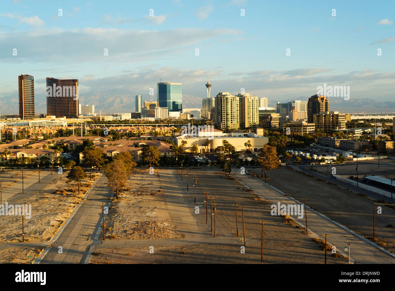 Las Vegas skyline with incomplete development in foreground. - Stock Image