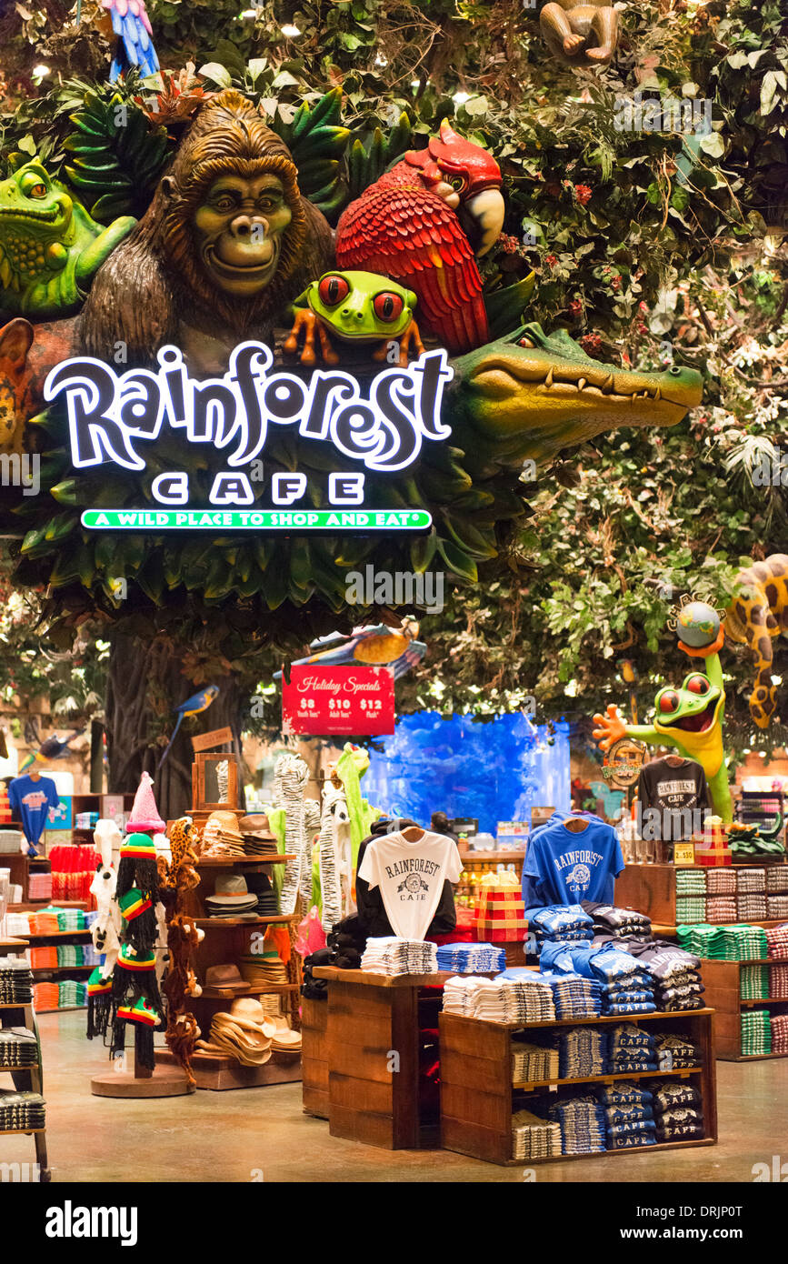 The Rainforest Cafe in the MGM Grand. - Stock Image