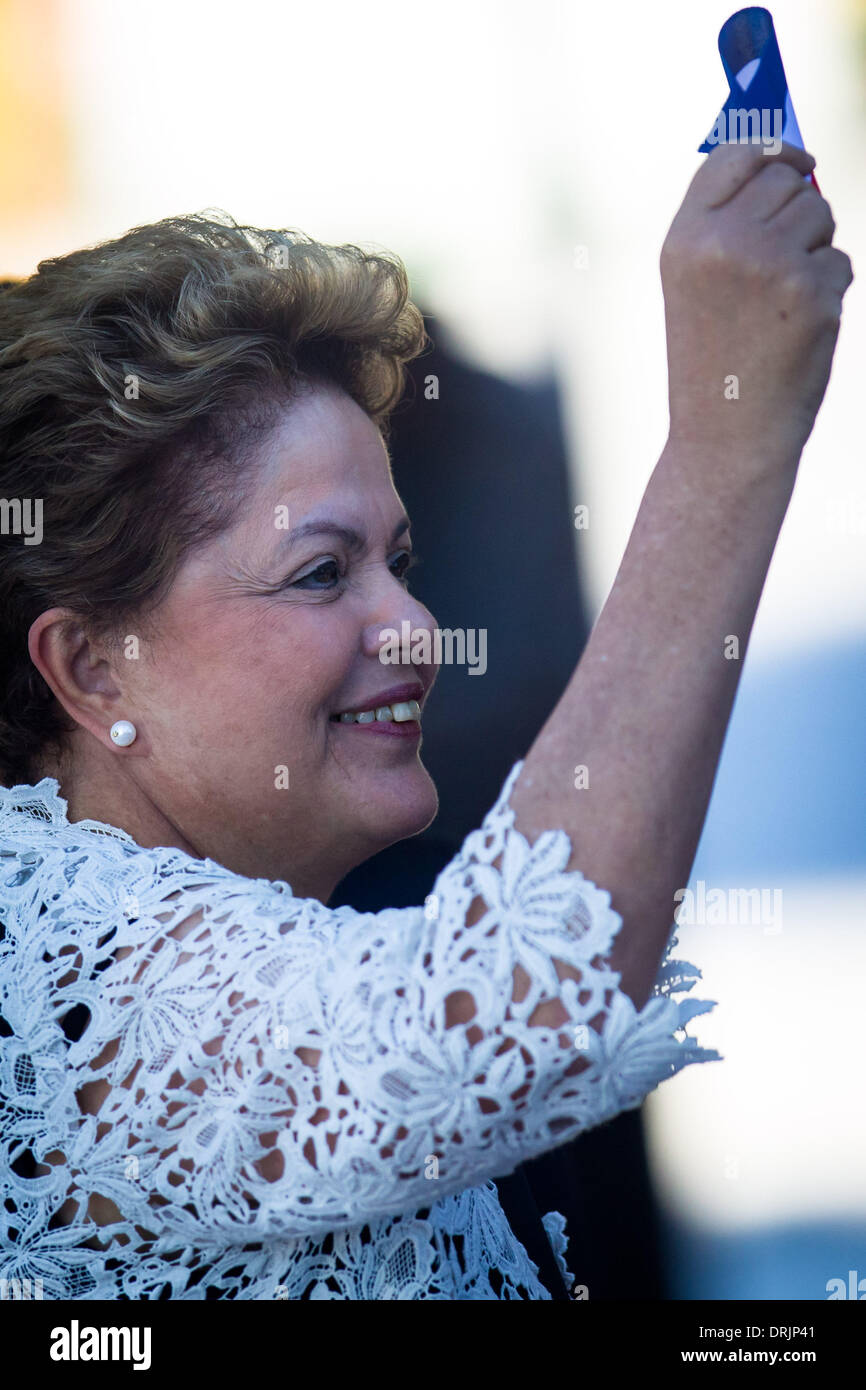 Mariel Port, Cuba. 27th Jan, 2014. Brazil's President Dilma Rousseff attends the inauguration ceremony of the first Stock Photo