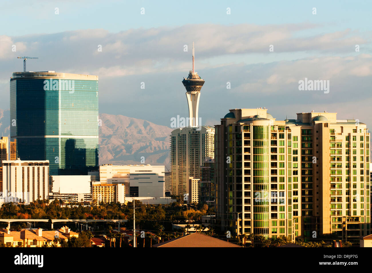 Las Vegas skyline with the Stratosphere Hotel in the distance. - Stock Image