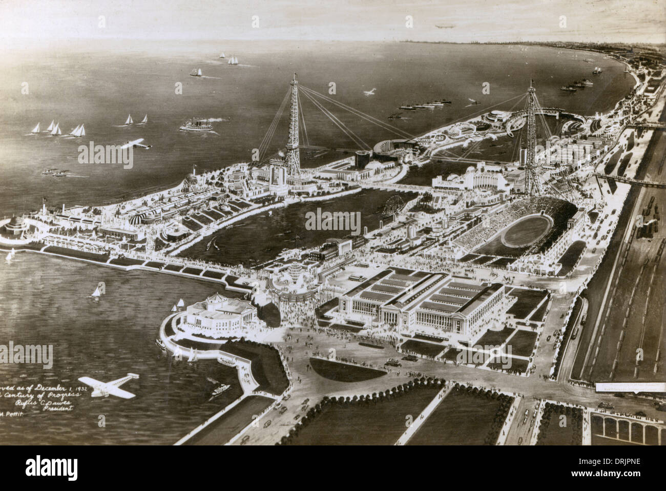 Artists impression, aerial view of the Chicago World's Fair - Stock Image