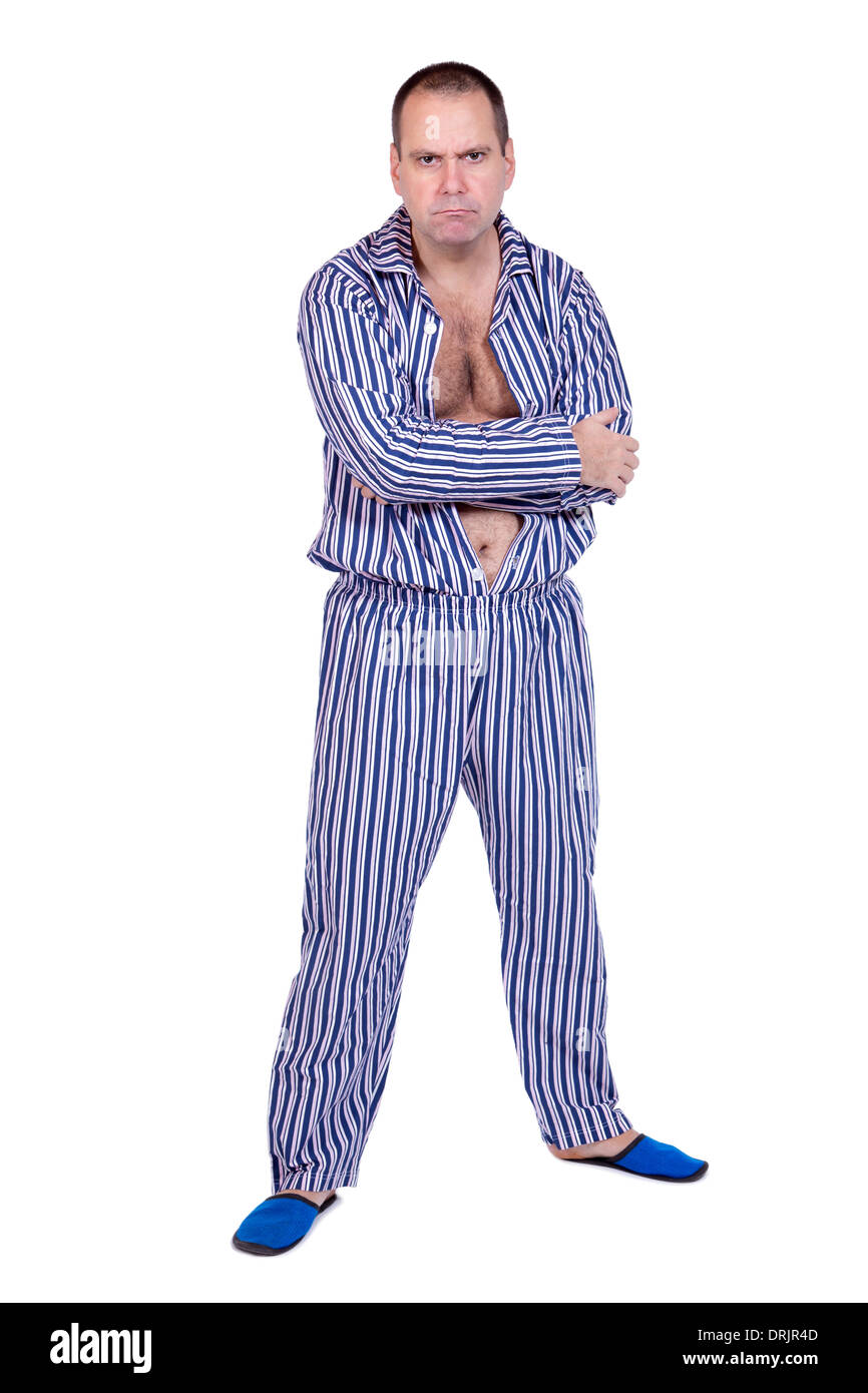 afc3dbff84 man in pajamas on white background Stock Photo  66181485 - Alamy